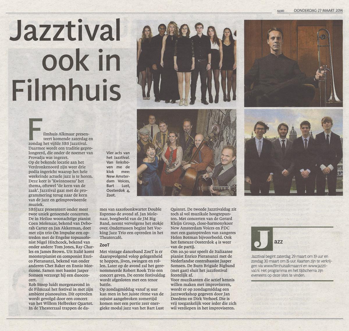 Alkmaarsche Courant, 27 maart 2014